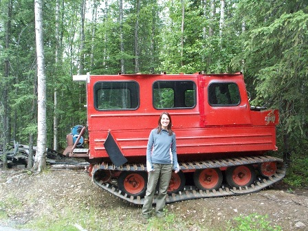 Kat with an amphibious vehicle, Alaska field season '08