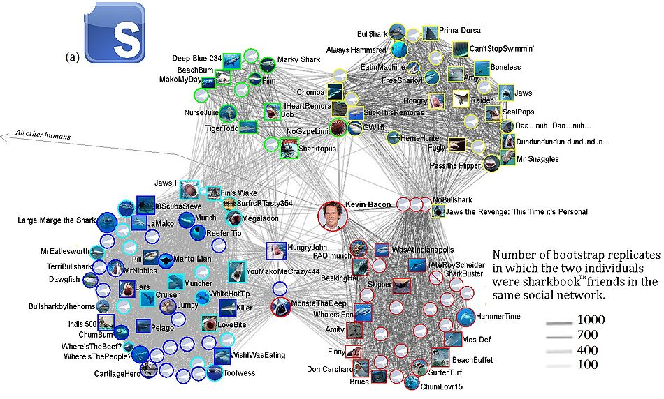 "Another one of the ""many methods for detecting communities within social networks (that) have been described in recent years.""  Click twice for a readable size..."