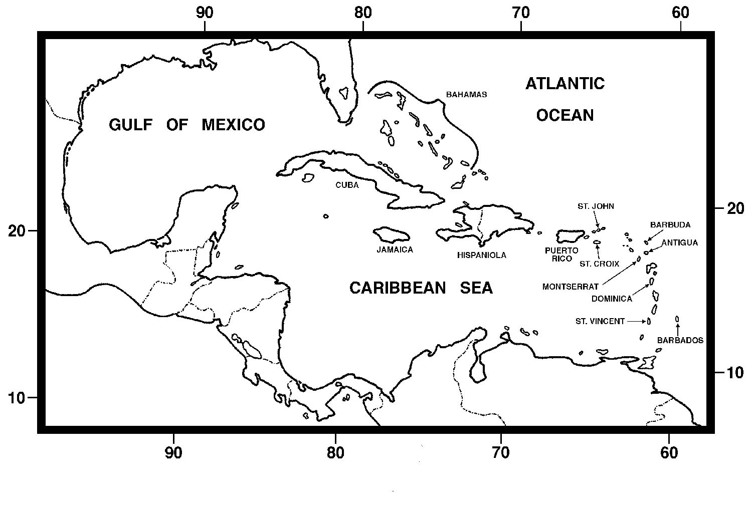 Stupendous image with printable map of the caribbean